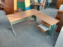 [9成新] 木紋L型辦公桌電腦桌H03141電腦桌/椅無破損有使用痕跡