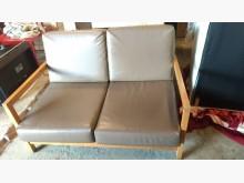 [9成新] 【尚典中古家具】棕灰色兩人皮沙發雙人沙發無破損有使用痕跡