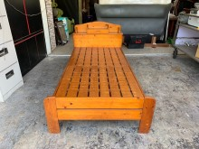 全實木書架床頭箱標準單人3尺床架單人床架無破損有使用痕跡