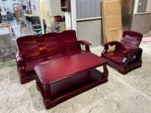 [9成新] 吉田二手傢俱❤實木1+3沙發茶几木製沙發無破損有使用痕跡