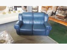 [9成新] 合運二手傢俱~藍色兩人半牛皮沙發雙人沙發無破損有使用痕跡