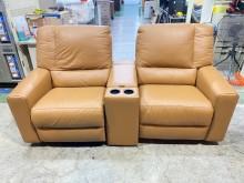 [95成新] 吉田二手傢俱❤皇齊電動皮沙發雙人沙發近乎全新