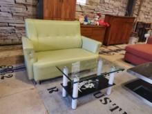 [9成新] 日式小清新半牛皮雙人沙發不含茶几雙人沙發無破損有使用痕跡