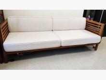 [9成新] 自售 詩肯柚木米三人座布面沙發雙人沙發無破損有使用痕跡