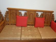 [9成新] 中式沙發3+3(六人座)+2茶几木製沙發無破損有使用痕跡