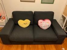 [9成新] ~舒適布沙發讓你有回到家的感覺~雙人沙發無破損有使用痕跡