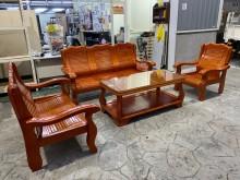 [9成新] 吉田二手傢俱❤實木123沙發茶几木製沙發無破損有使用痕跡