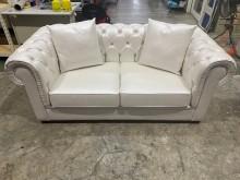 [9成新] 吉田二手傢俱❤歐風白色雙人皮沙發雙人沙發無破損有使用痕跡