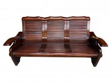 [9成新] *A111903*胡桃色3人木製木製沙發無破損有使用痕跡