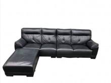 [9成新] A121201*黑色半牛皮沙發L型沙發無破損有使用痕跡