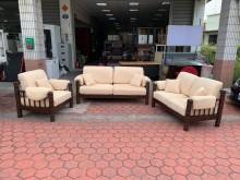 [9成新] 胡桃實木底座 麂皮1+2+3沙發多件沙發組無破損有使用痕跡