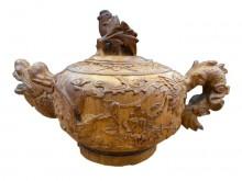 [95成新] R121803*龍雕刻茶壺藝品樟擺飾近乎全新