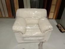 [9成新] 米黃透氣半牛皮單人沙發H0338單人沙發無破損有使用痕跡