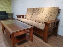 [9成新] 北歐時尚柚木三人沙發組( 含大茶木製沙發無破損有使用痕跡