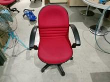 [9成新] 紅布扶手手調式電腦椅H03413電腦桌/椅無破損有使用痕跡