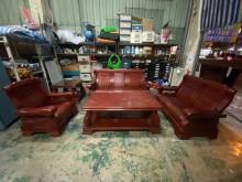 [9成新] 實木1+2+3+大小茶几椅組*沙木製沙發無破損有使用痕跡