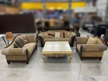 [9成新] 古典3+2+1全牛皮布沙發含茶几多件沙發組無破損有使用痕跡