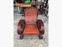 [8成新] 紅胡桃木色 竹籐單人椅-藤椅籐製沙發有輕微破損