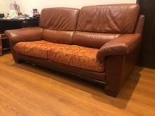 [8成新] 3人真皮沙發 (寬205cm)雙人沙發有輕微破損