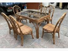 [8成新] 三合二手物流(藤製餐桌椅組)餐桌椅組有輕微破損