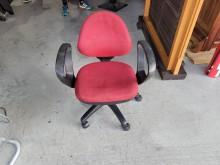 [9成新] 紅布扶手OA椅H03476電腦桌/椅無破損有使用痕跡