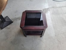 [9成新] 胡桃木色玻璃正方几桌H03499茶几無破損有使用痕跡