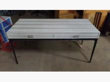 [9成新] 質感雙抽皮書桌書桌/椅無破損有使用痕跡