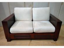 [7成新及以下] 二手雙人緹花布沙發木椅 桃區免運雙人沙發有明顯破損