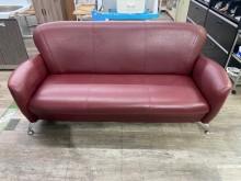吉田二手傢俱❤紅色三人皮革沙發多件沙發組無破損有使用痕跡