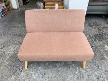[9成新] 卡其色棉麻布 雙人座沙發椅雙人沙發無破損有使用痕跡