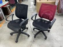 [9成新] 網布升降電腦椅(黑/紅)電腦桌/椅無破損有使用痕跡