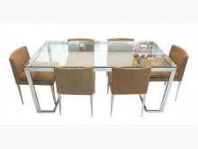 [8成新] E2212*玻璃餐桌+6椅*餐桌椅組有輕微破損