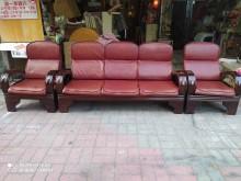 [95成新] 3+1+1人座客廳木椅送椅墊一組木製沙發近乎全新