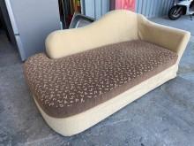 [9成新] 米色配咖啡布製貴妃椅單人沙發無破損有使用痕跡