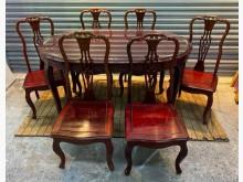 [8成新] 花梨木一桌六椅餐桌椅組有輕微破損