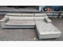 [9成新] 米白右L半牛皮沙發L型沙發無破損有使用痕跡