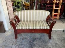 [8成新] 胡桃實木腳座4尺 二人座布沙發椅雙人沙發有輕微破損