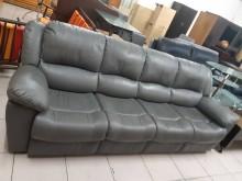 [8成新] 八成新半牛皮4人座沙發雙人沙發有輕微破損