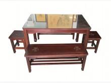 [8成新] E3222*胡桃實木餐桌椅*電腦桌/椅有輕微破損