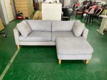 [8成新] 吉田二手傢俱❤簡約灰色L型布沙發L型沙發有輕微破損
