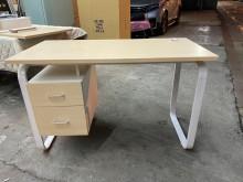[全新] 新品白橡色兩抽書桌(有電腦孔)書桌/椅全新