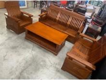 [9成新] 全實木1+2+3木沙發加大茶几組木製沙發無破損有使用痕跡