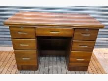 [8成新] 柚木色七抽玻璃書桌書桌/椅有輕微破損