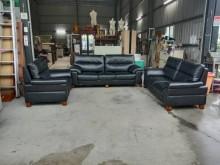 [95成新] 黑色半牛皮1+2+3沙發多件沙發組近乎全新