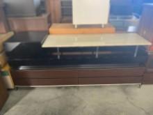 [9成新] 七尺胡桃兩抽電視櫃(含玻)電視櫃無破損有使用痕跡