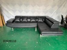 [9成新] 07039110 黑色皮L型沙發L型沙發無破損有使用痕跡