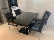 [8成新] 強化玻璃餐桌組餐桌椅組有輕微破損