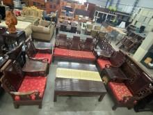 [9成新] 實木小戰國椅沙發組(十件組)木製沙發無破損有使用痕跡