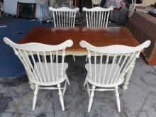 [9成新] 進口原木實木歐式餐桌餐桌椅組無破損有使用痕跡