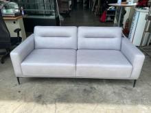 [95成新] 吉田二手傢俱❤近全新灰色牛皮沙發雙人沙發近乎全新